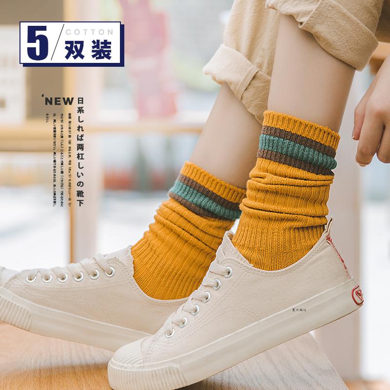 袜子女冬中筒袜韩国秋季长款堆堆袜女秋冬韩版学院风日系百搭