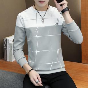 2020秋季男士长袖t恤男青少年学生男装潮流圆领印花上衣套头卫衣图片