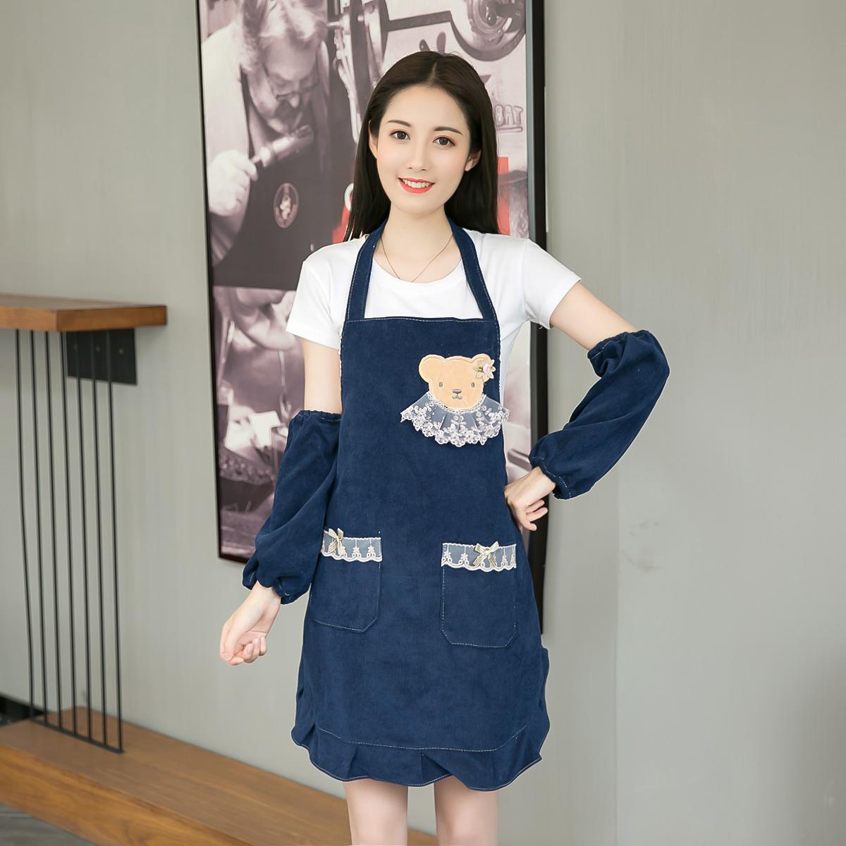 条绒时尚双层围裙防水防油美甲工作服厨房咖啡厅可爱公主做饭罩衣