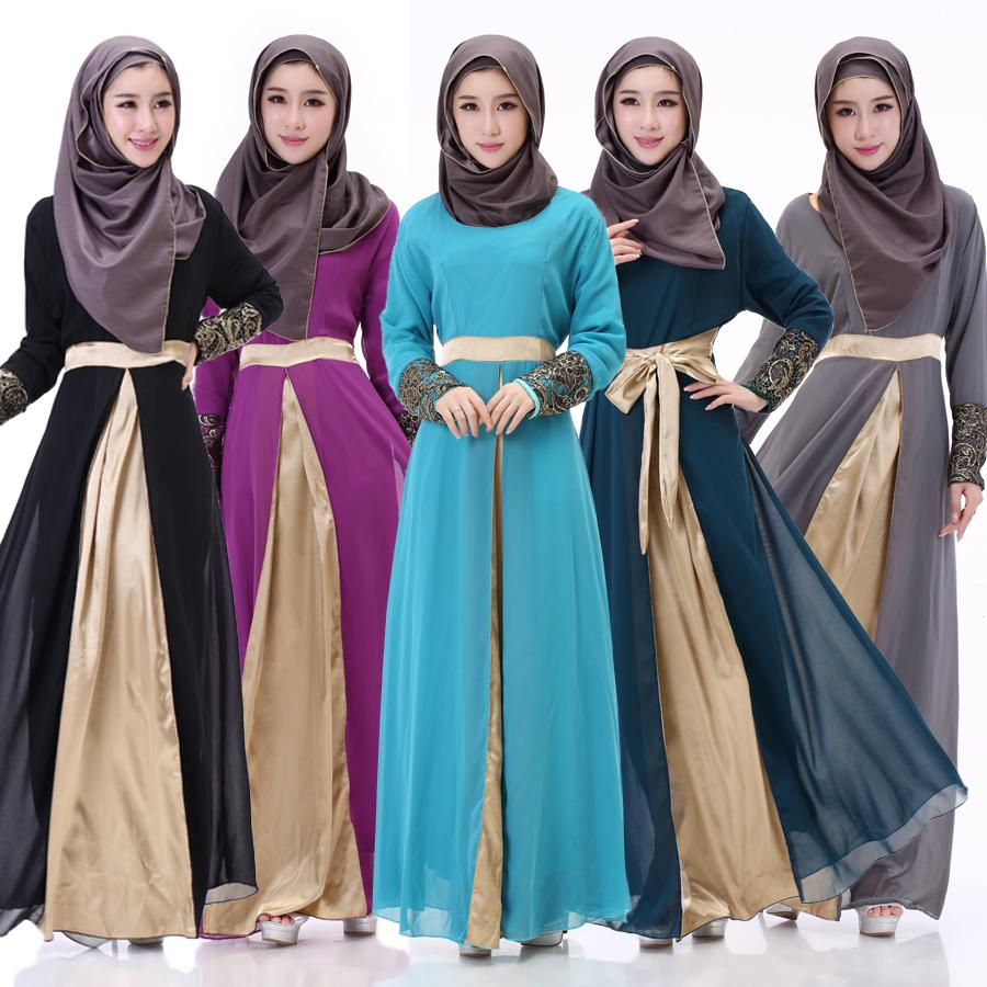 8051#新款穆斯林拼接连衣裙长裙拖地裙女长袍穆斯林裙 -