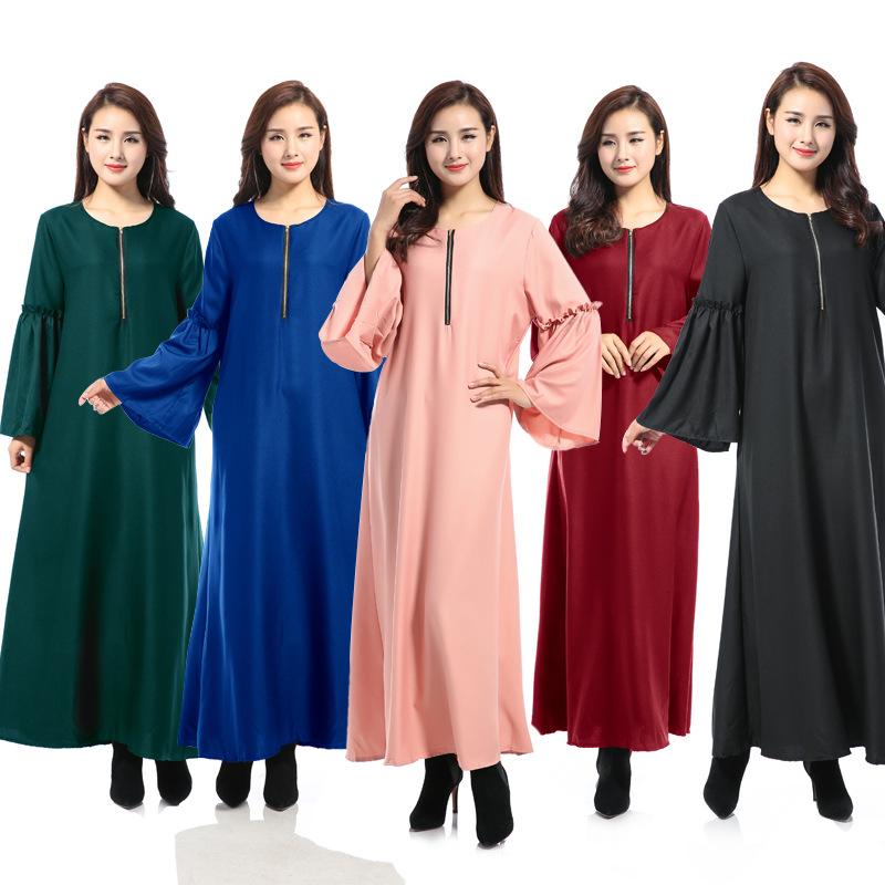 8029#新款穆斯林喇叭长袖拉链纯色长裙拖地裙女长袍裙 现货 -