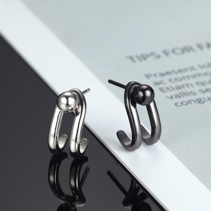 耳环2018新款潮设计感小众纯银耳钉男简约气质网红韩国个性耳饰女