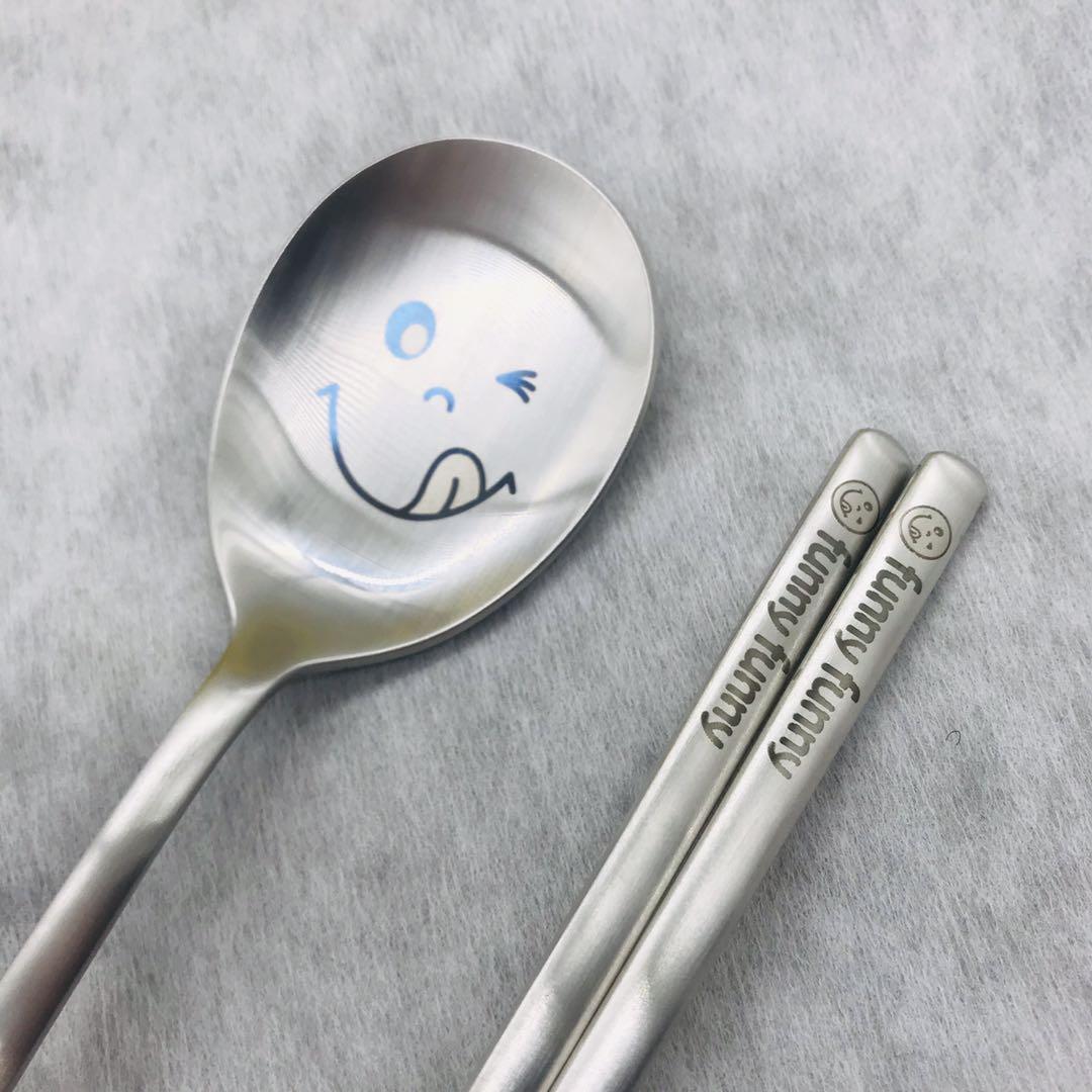 韩国原装进口家用韩式18-10不锈钢韩式实心勺子筷子餐具套装笑脸