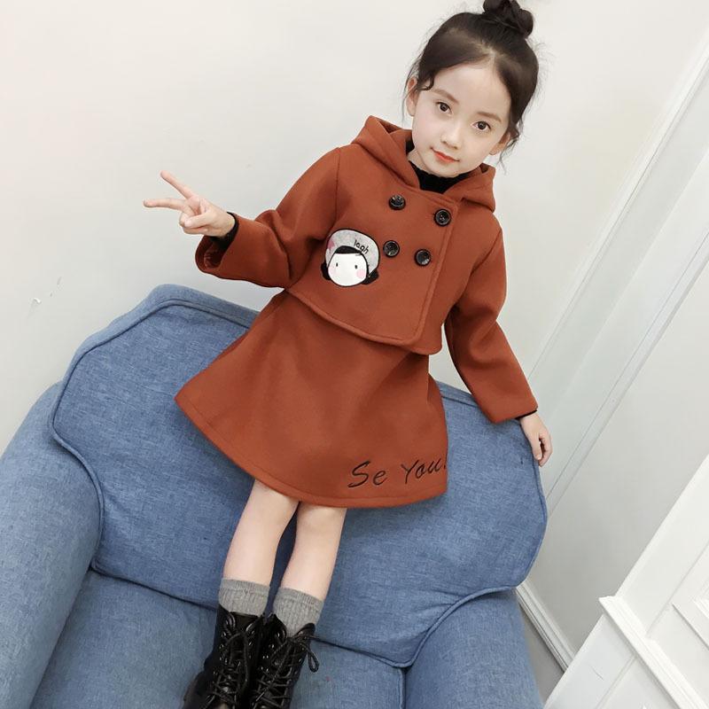 童装女童毛呢外套连衣裙两件套装2018冬季加厚大衣儿童呢子背心裙