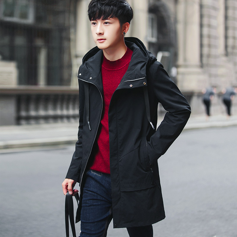 男士外套冬季2017新款加绒加厚风衣男中长款青年帅气个性潮男夹克