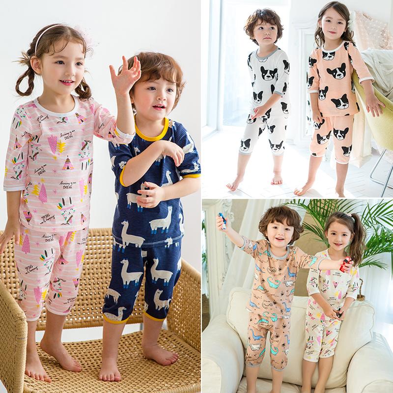 儿童夏季男童空调服女童中袖夏装睡衣薄款纯棉男孩宝宝家居服套装