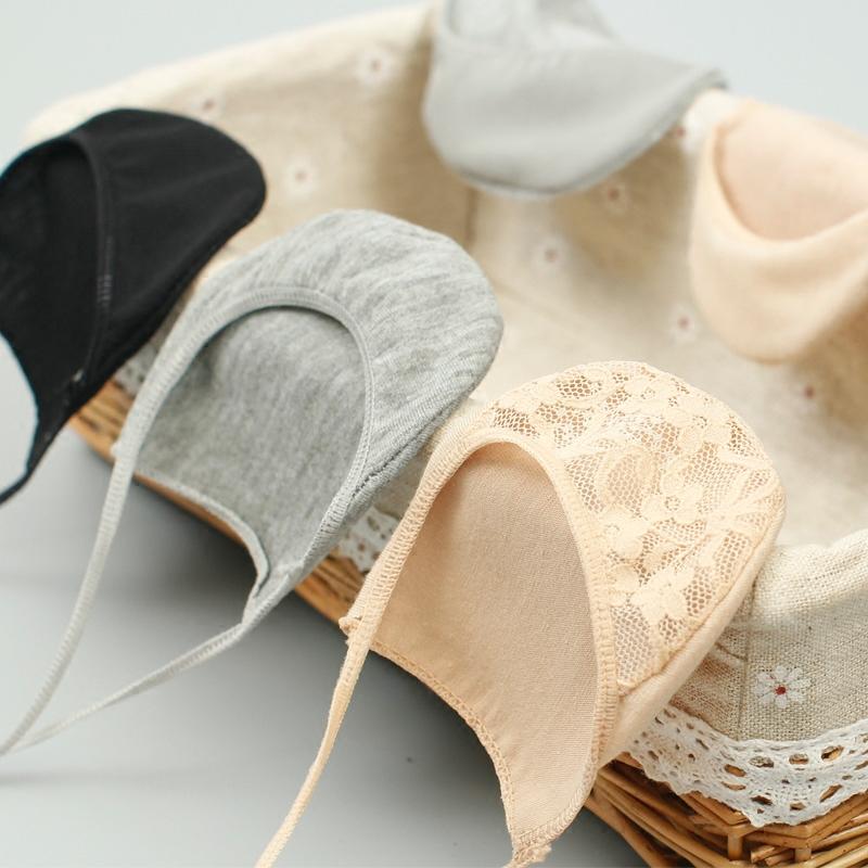 5双装 浅口隐形吊带船袜女士全棉短袜棉底网眼细带半脚掌蕾丝袜子