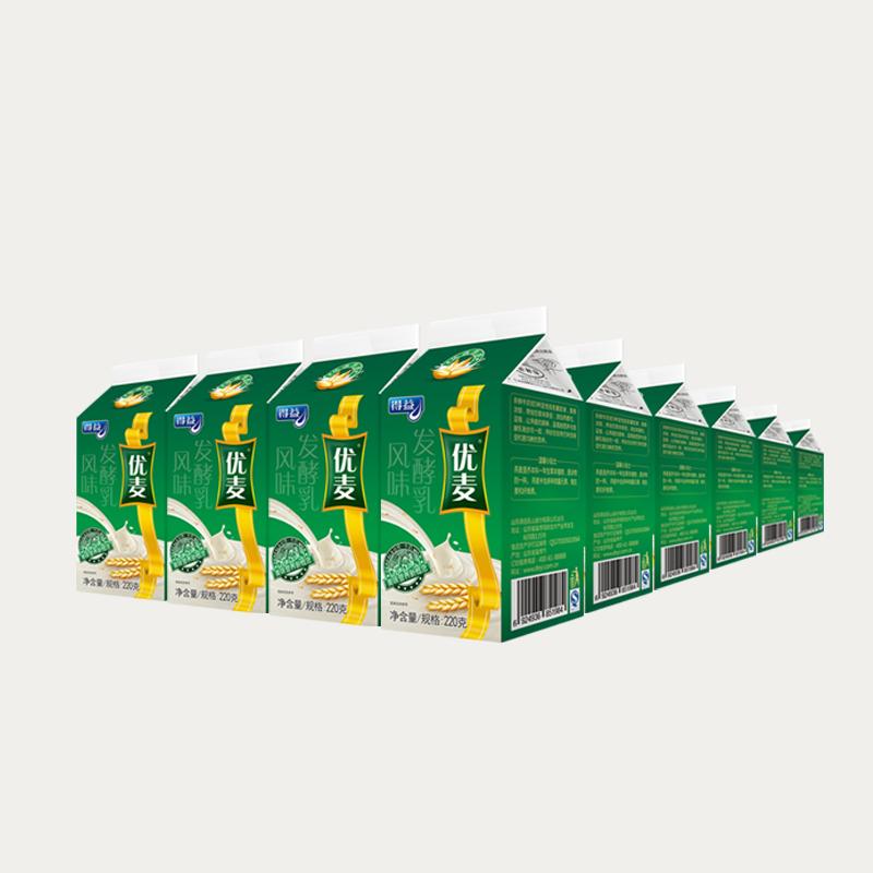 得益优麦原味低温酸奶套装220g*24盒 绿色燕麦益生菌巴氏酸牛奶