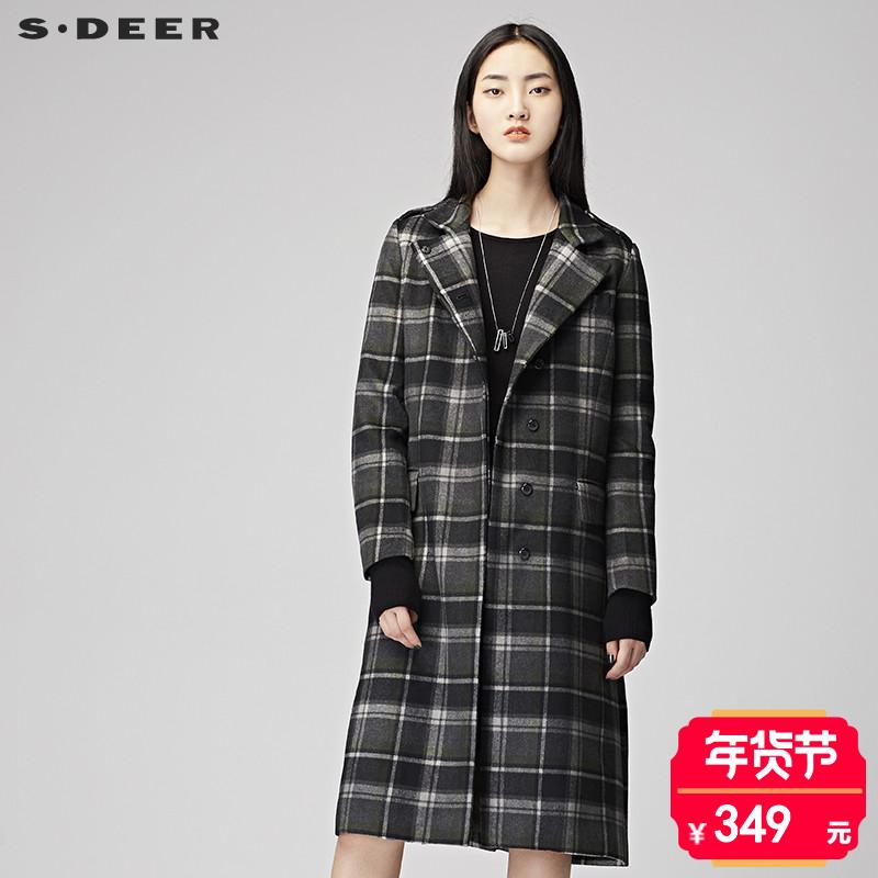 sdeer圣迪奥2017冬新品学院风格纹长款毛呢大衣外套女 S17461811