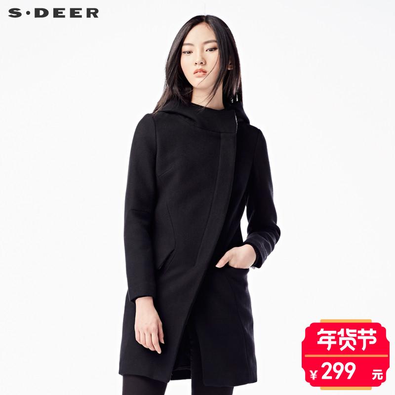 sdeer圣迪奥2017冬装分割斜襟连帽直筒毛呢大衣外套女S15481899