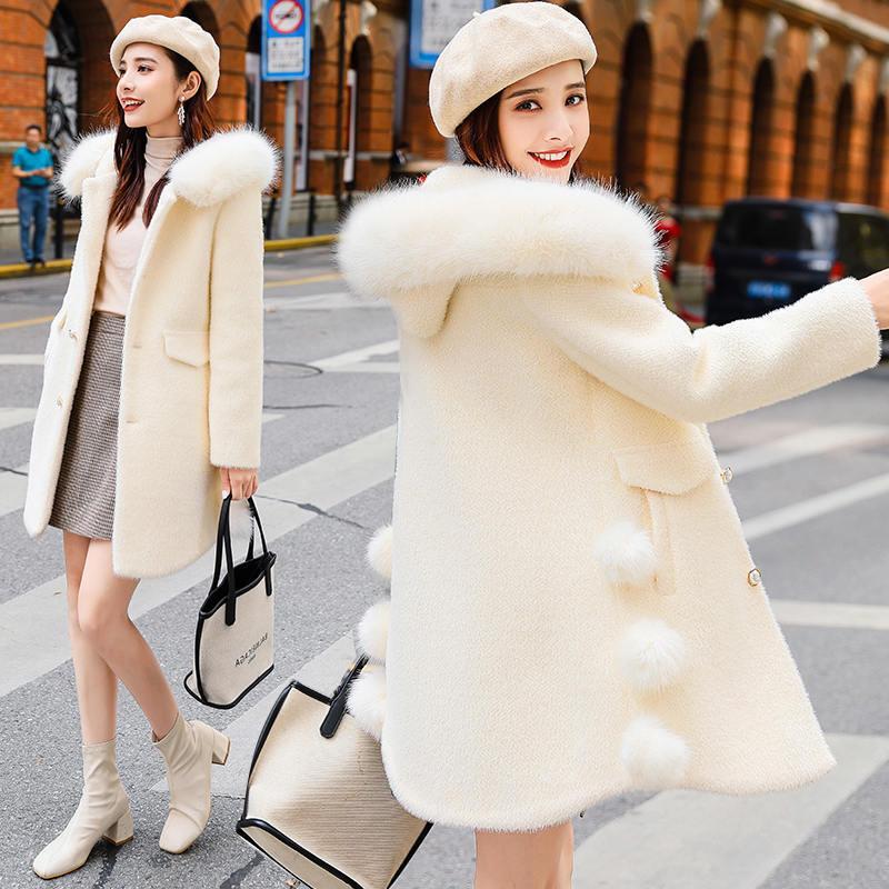 毛呢外套女中长款2019秋冬新款流行小个子呢子衣冬季仿水貂绒大衣