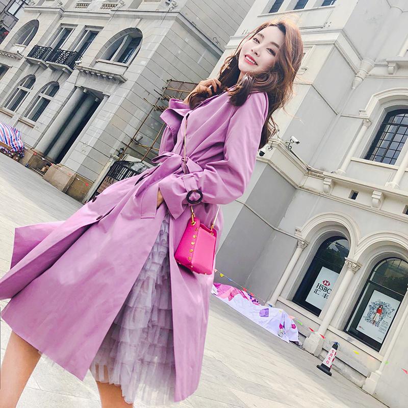 紫色风衣女春季2019新款韩版英伦风气质修身收腰时尚中长款外套
