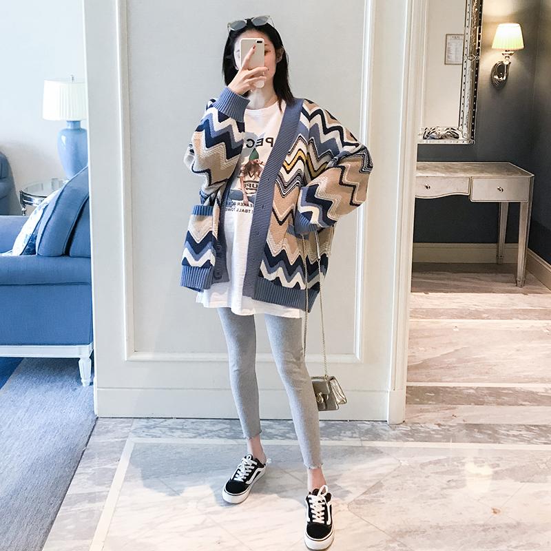 孕妇针织开衫春装时尚款2019新款上衣韩版彩色条…