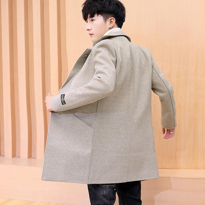 男士风衣2019新款中长款韩版修身青年妮子大衣潮流帅气毛呢外套男