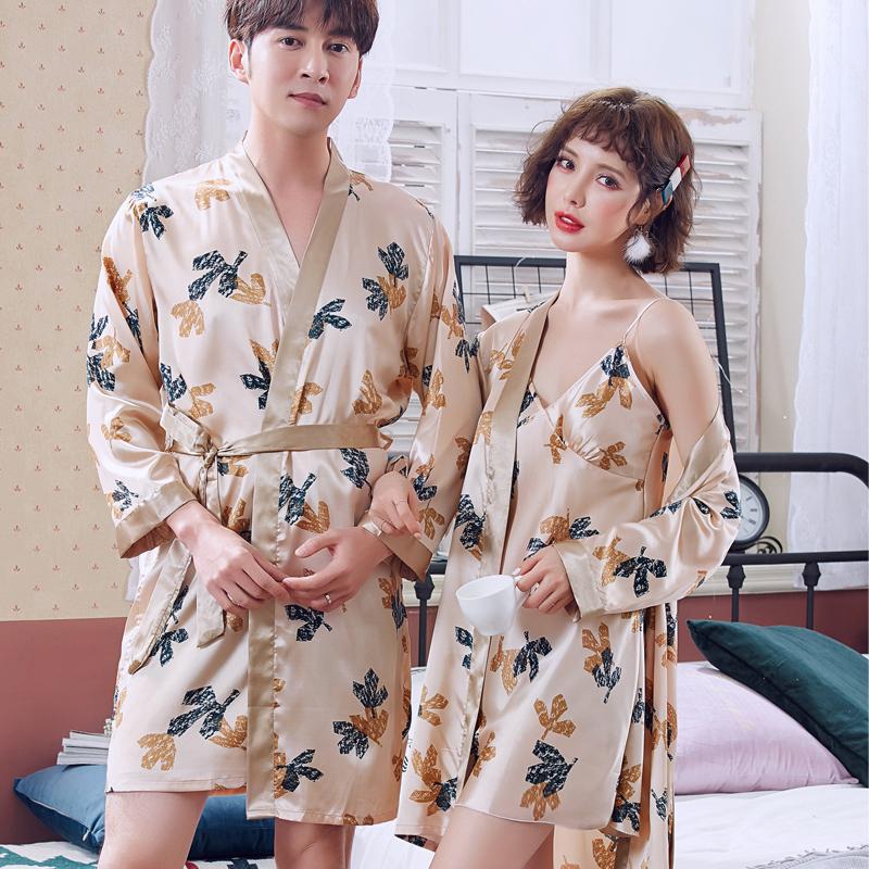 夏季男士冰丝绸情侣睡袍浴袍性感睡衣女春夏吊带睡裙两件套家居服