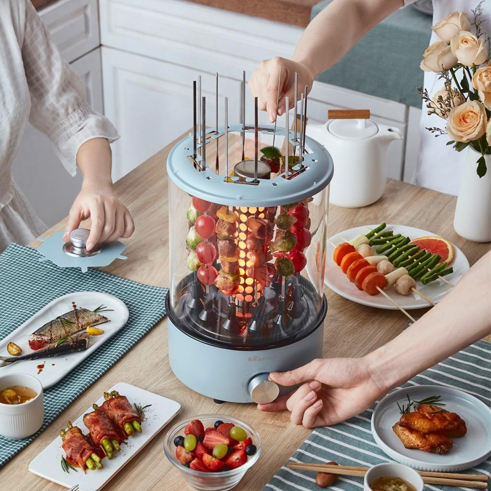 小熊烤串机全自动电烧烤炉家用电烤小型旋转烤肉串机器室内羊肉串