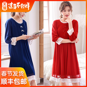 Palace nightdress female autumn seven-point long-sleeved lace sexy pajamas can be worn outside tulle retro princess style home service