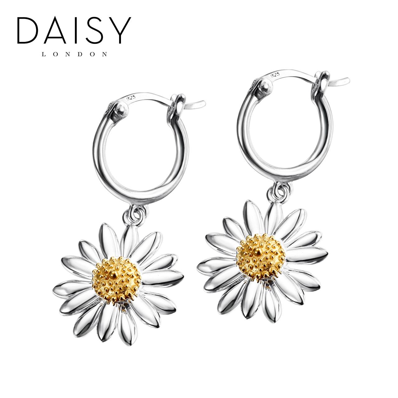 daisy london手工复古雏菊耳环女 长款925银饰品花朵ins耳钉耳坠
