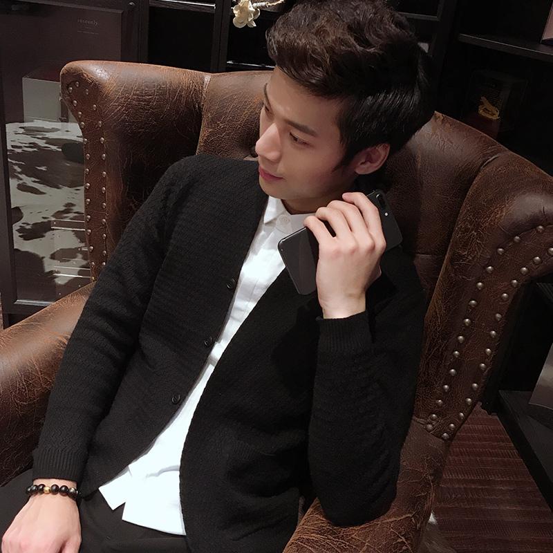 男士2018新款薄款秋季针织开衫时尚不起球毛线衣帅气外套韩版修身