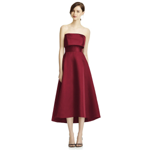LANTANA new burgundy vintage satin tube top toast bridal toast dress bridesmaid evening dress wedding presided over the