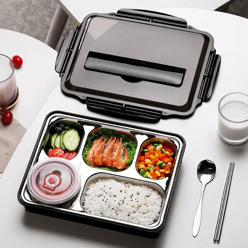 超大容量饭盒网红学生食堂用上班族带饭的分格便当盒日式健身餐盘