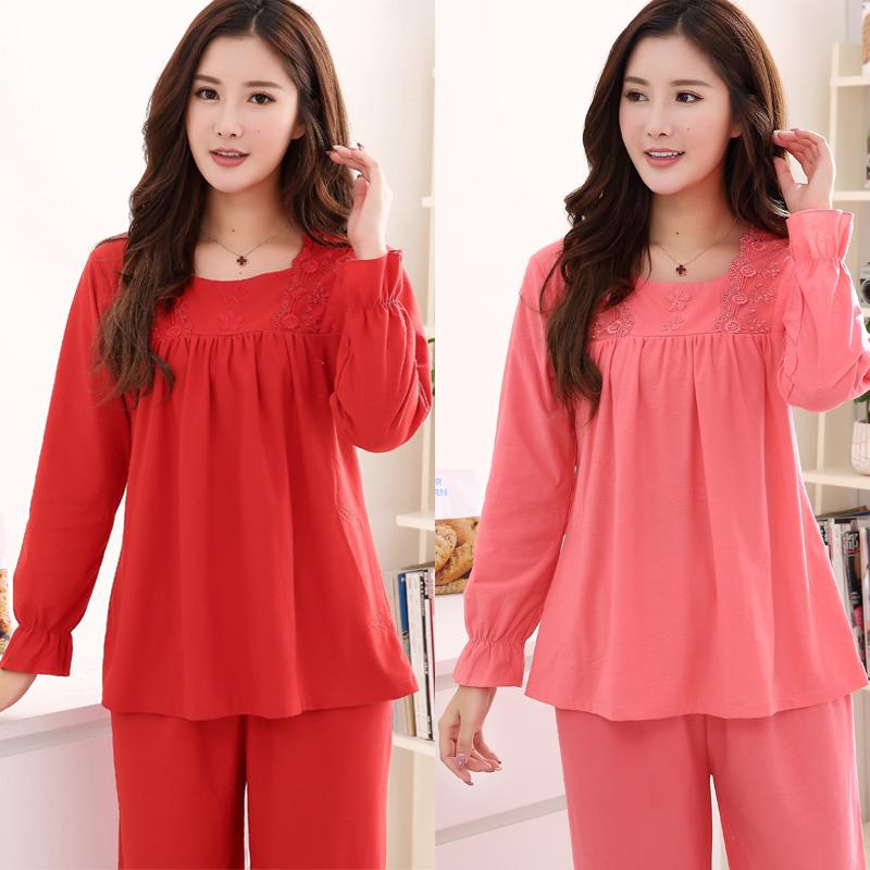 大红色睡衣女士春秋季纯棉长袖薄款中老年人妈妈可外穿家居服套装