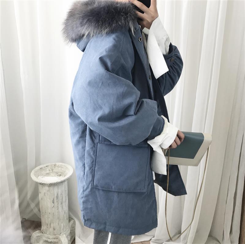 阿茶与阿古秋冬新款雾霾蓝毛领简约韩风连帽中长款男羽绒服