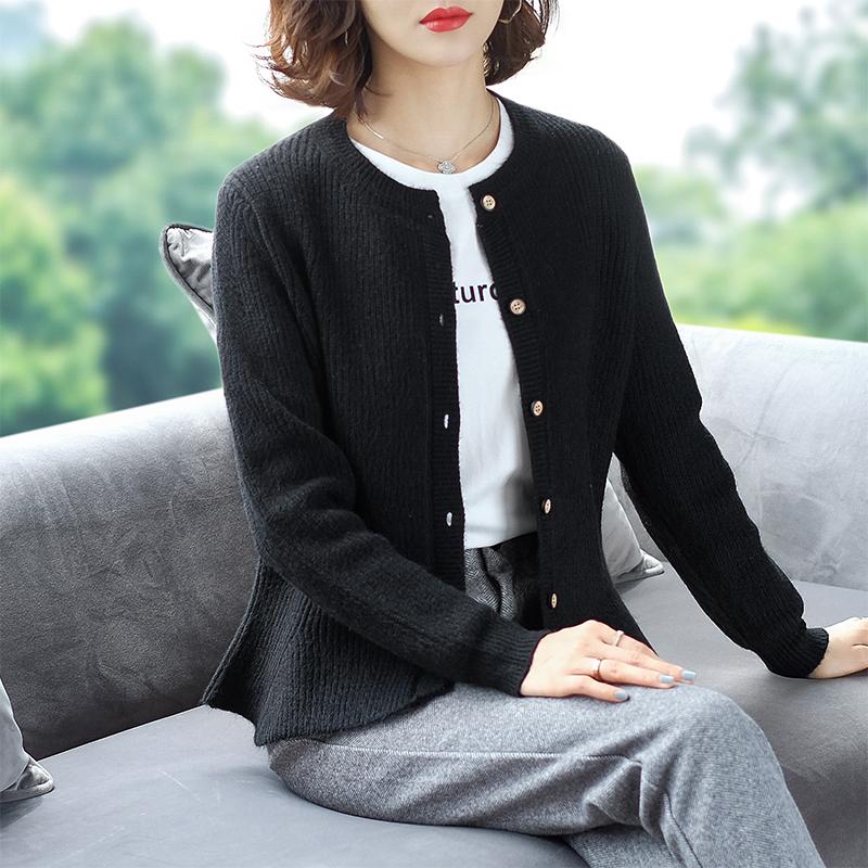 秋季 加大 女装 新款 毛衣 外套 宽松 短款 针织 开衫