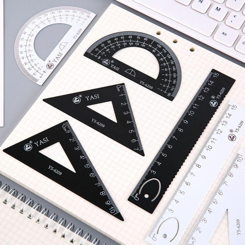 多功能铝合金属套尺学生绘画图四件仪尺子直尺三角板量角器初高中
