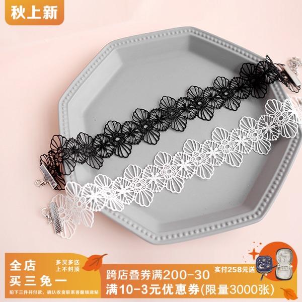 韩版蕾丝大花朵脖子饰品颈带 复古项圈锁骨项链颈链choker 女