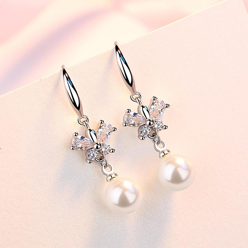 莎小姐s925银简约个性耳环女日韩气质贝珍珠镶钻精美耳钉时尚饰品