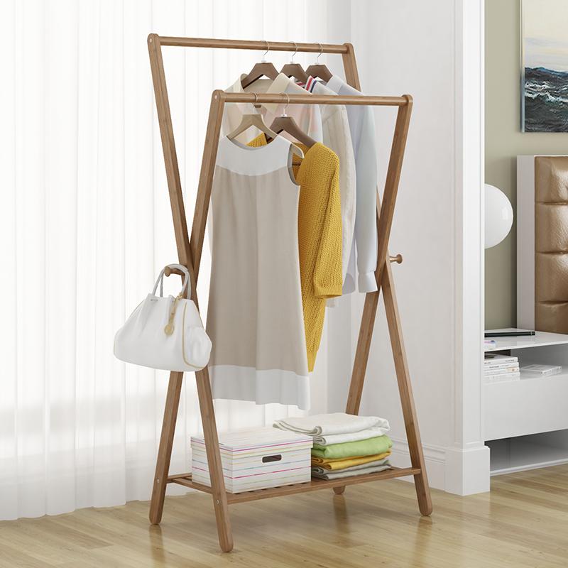 衣架落地衣帽架卧室移动实木挂衣架现代简约置物架组装简易衣服架
