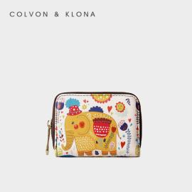 Colvon Klona卡包女式韩可爱迷你防消磁卡包小巧多卡位ck零钱包
