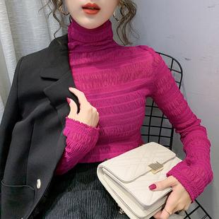堆堆高领网纱蕾丝打底衫女内搭2019秋冬新款洋气欧货精致小衫上衣图片