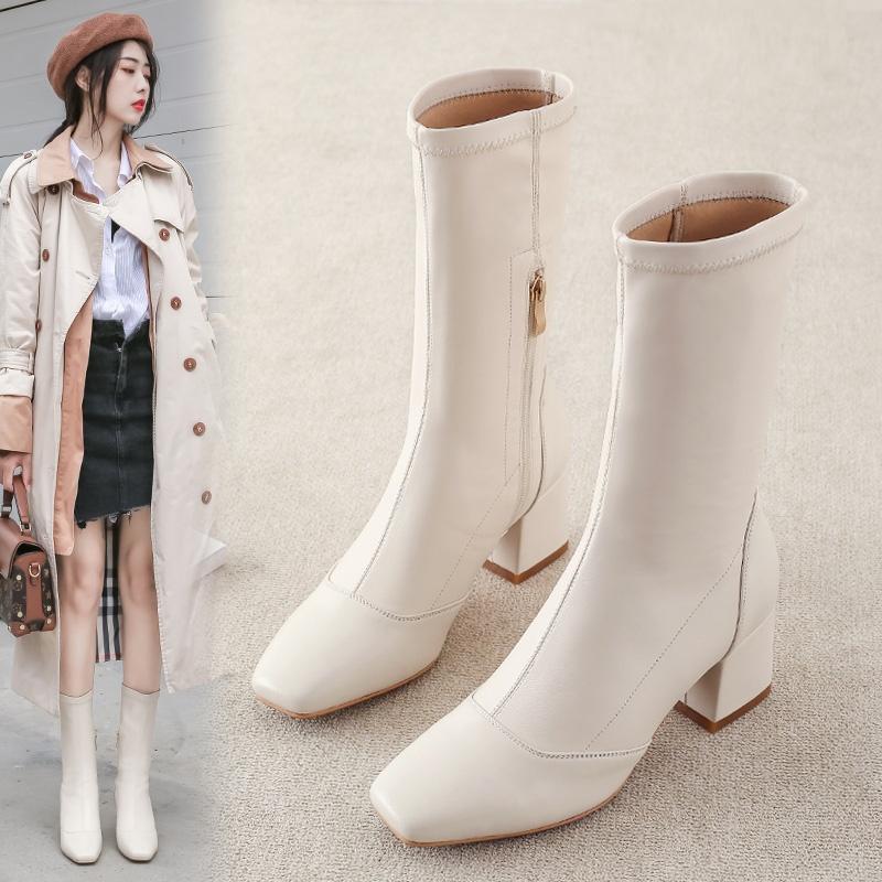靴子女中筒靴2019年秋冬季新款小个子加绒女靴秋款不过膝高筒长靴