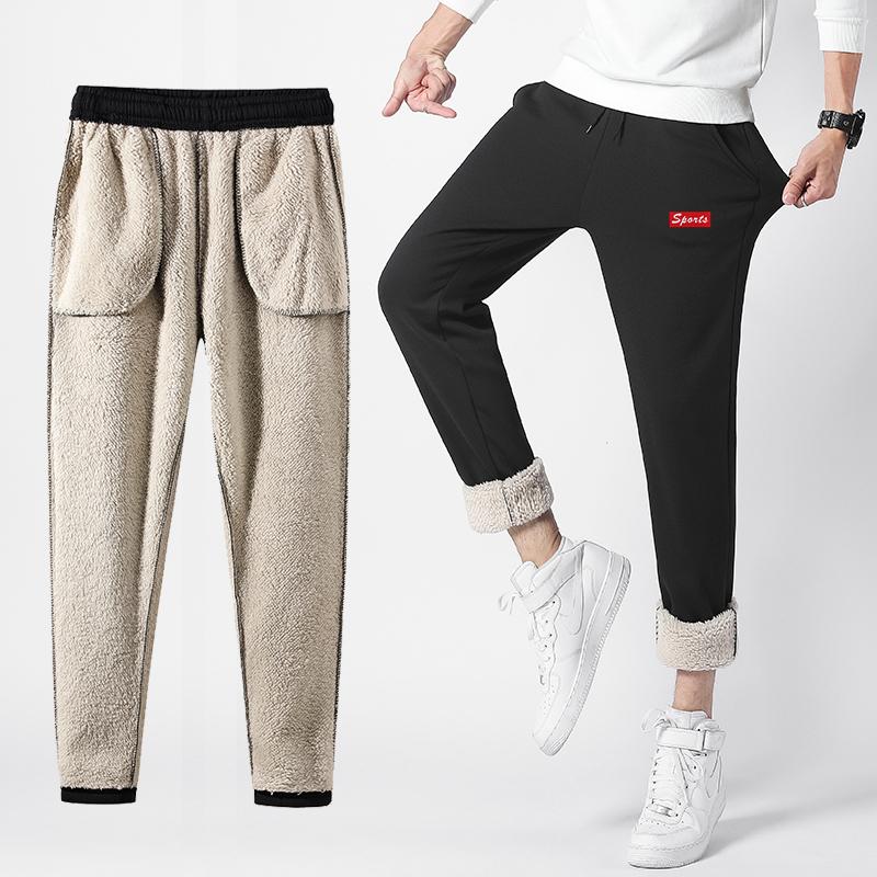 冬季男裤子加绒加厚运动裤男羊羔绒休闲裤女小脚裤直筒5XL大码裤