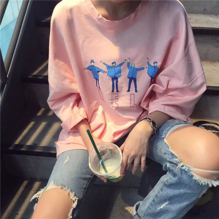 宽松卫衣女ulzzang韩国秋装韩版原宿BF风体恤上衣学生长袖t恤衫潮
