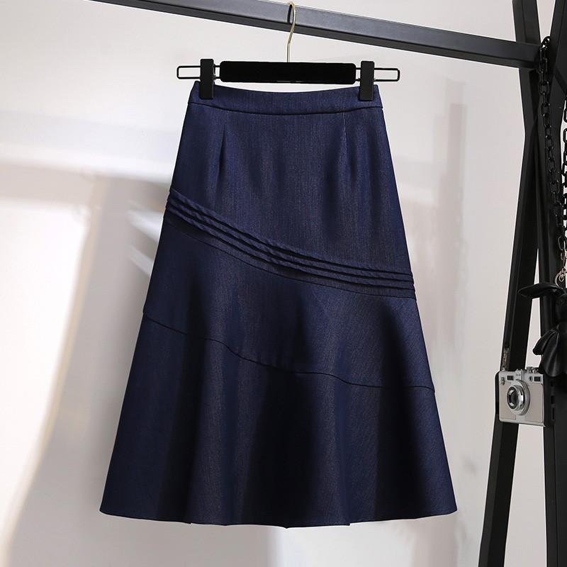 半身裙中长款秋季女装2019年新款显瘦百搭高腰a字裙蓝色伞裙子夏