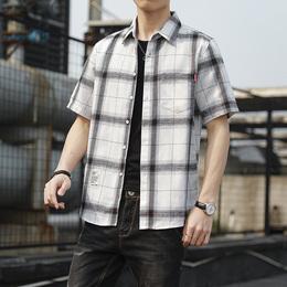 夏季纯棉短袖衬衫男士韩版潮流格子衬衣休闲宽松青年帅气棉质夏装
