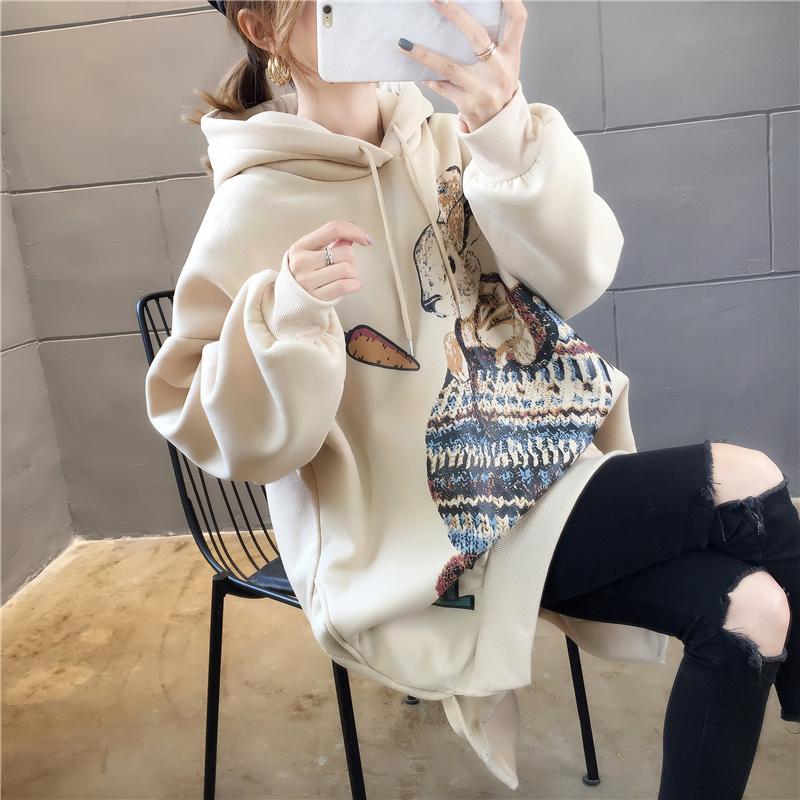 胖mm减龄大码200斤卫衣女装加绒加厚中长款宽松ins韩版连帽外套潮