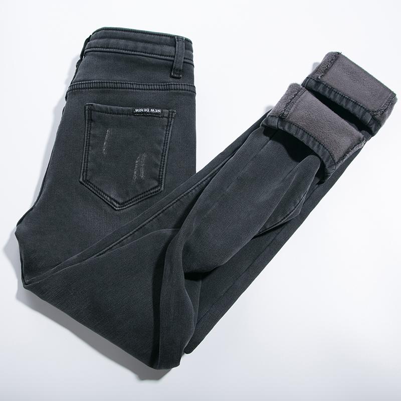加绒高腰牛仔裤女烟灰色2018新款紧身小脚裤韩版显瘦冬季加厚长裤