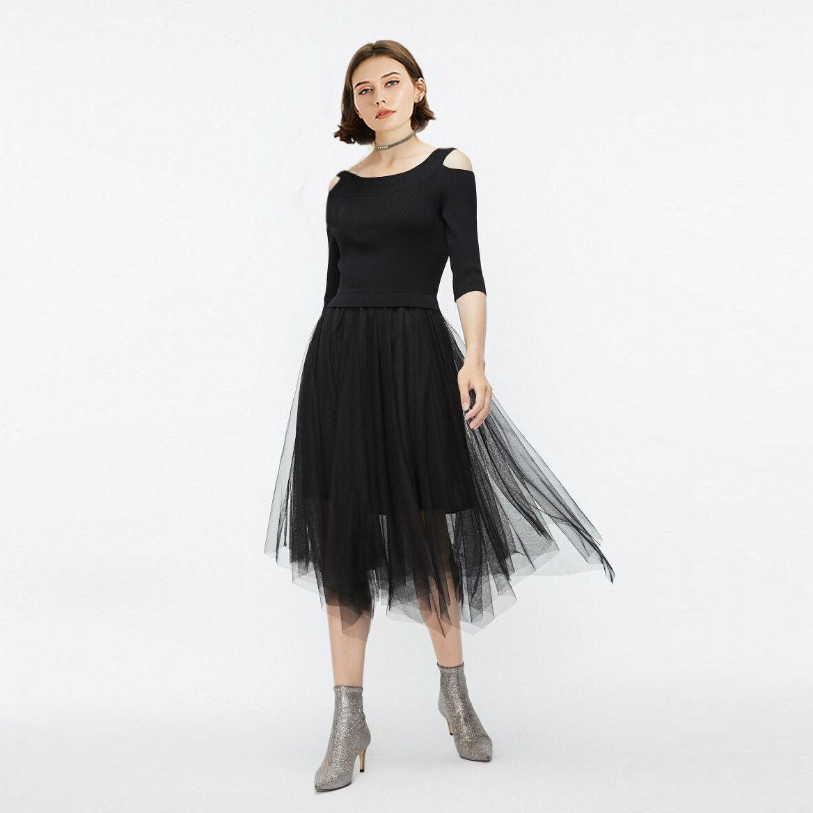 ONLY.LU2019冬季新款洋气网纱针织露肩连衣裙女119446515