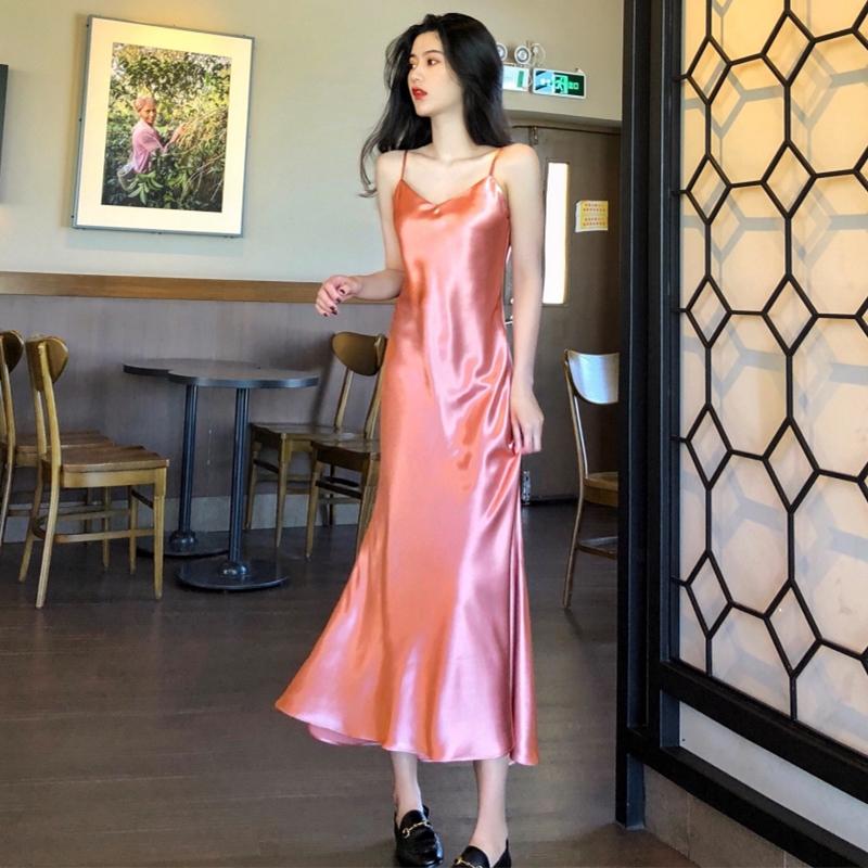冰丝吊带睡裙女夏季薄款性感睡衣冰丝绸吊带连衣裙可外穿过膝长裙