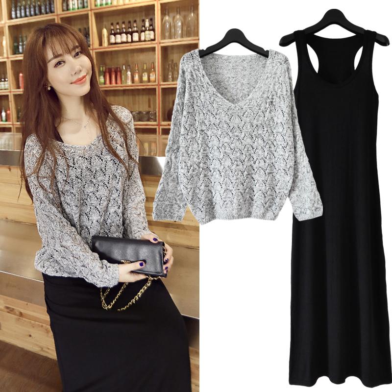 韩版针织套装裙子修身两件套连衣裙长裙大码女装长袖