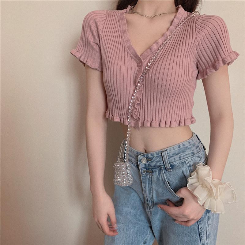 实拍实价又甜又嗲粉色针织开衫女2020夏新款v领性感短款上衣-大队长-