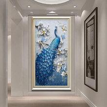 2021新款线绣客厅(小)幅dn9室孔雀竖yx己绣手工满绣