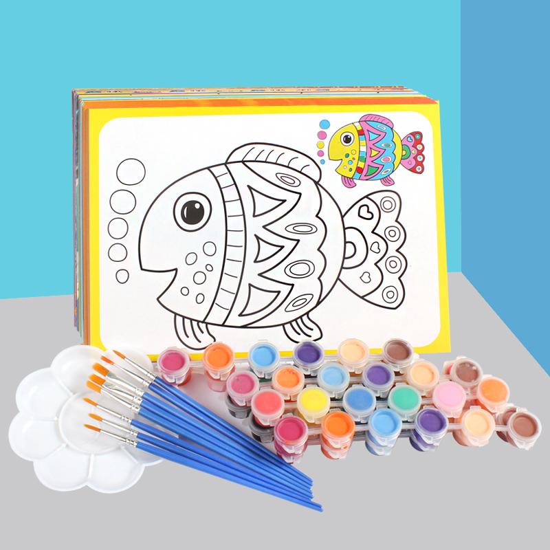 儿童填色水彩画颜料画涂鸦画油画套装diy手工幼儿园画画 涂色画卡