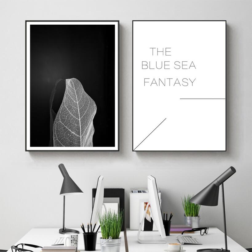 现代简约英文字母叶子黑白装饰画卧室客厅两联画极简创意时尚挂画