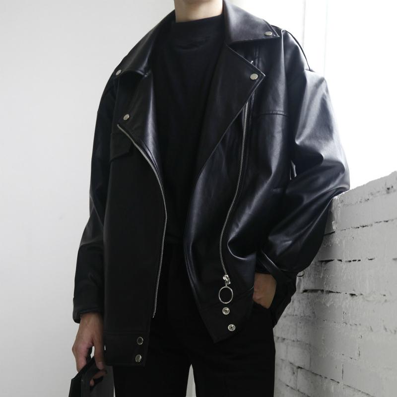 韩版ulzzang短款机车皮衣男士青年帅气PU皮夹克薄款修身外套潮流