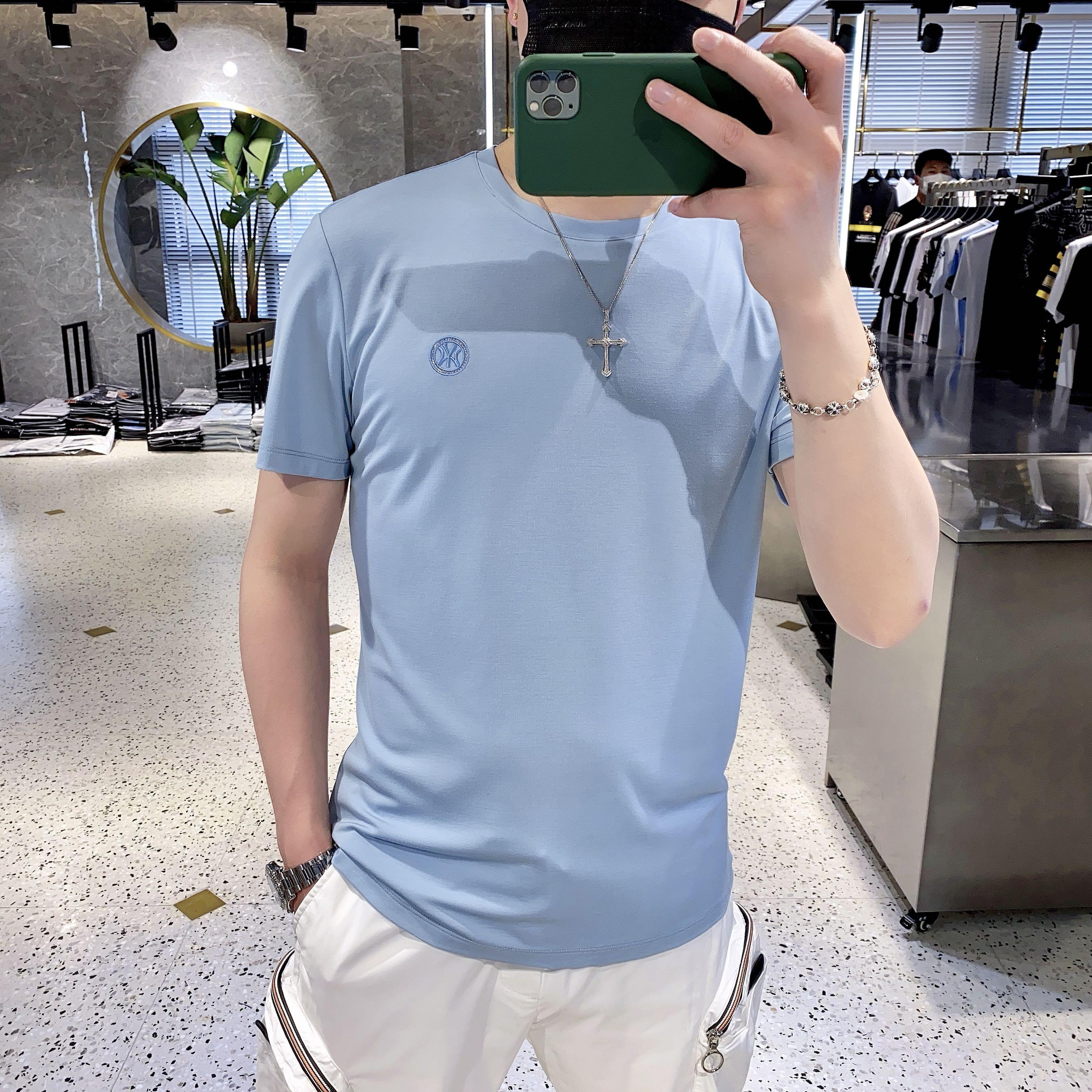 欧洲站2020夏季T恤男修身纯色圆领潮流百搭短袖刺绣丝光棉半袖潮